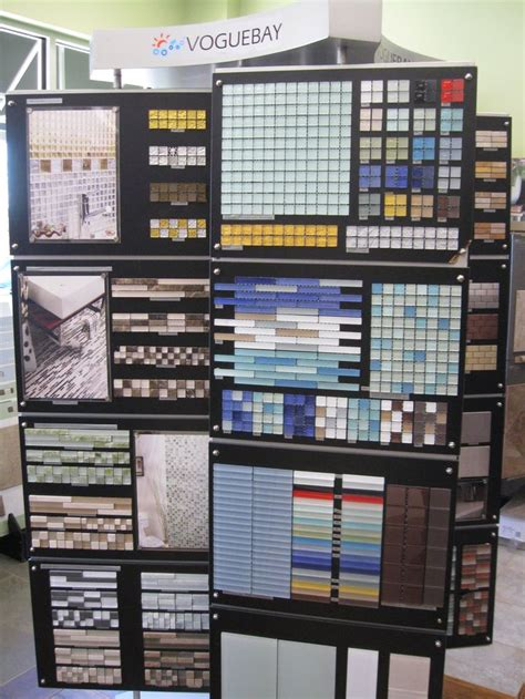 tile stores in voguebay tile display featuring the glass mosaic tile used in our store restrooms store