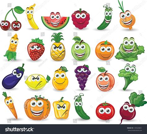 cuisine emotion fruits vegetables different emotions stock vector