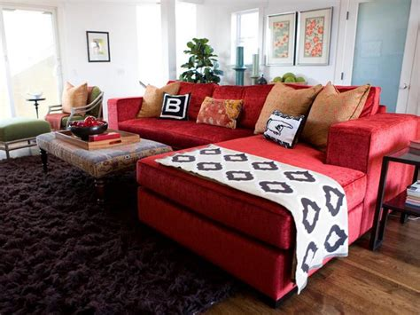 decorating ideas with sectional sofas vibrant red sofas hgtv
