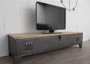 meuble tv industriel avec un tres ancien vesiaire superbe With teindre un meuble deja teint