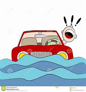Driver Trapped On Flooded Road Stock Vector - Image: 46518128