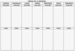 Plannings de menu à la semaine à imprimer gratuitement. Planning vierge menu de la semaine | Planning vierge, Menu ...