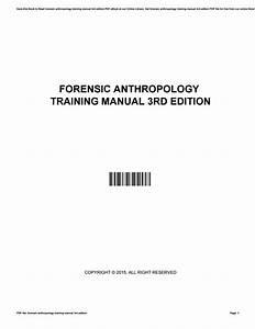 Forensic Anthropology Training Manual Pdf