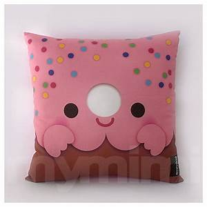 12 x 12 pink donut pillow stuffed toy kids room decor for Cheap kids pillows