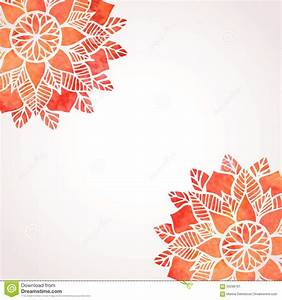 Illustration With Watercolor Red Lace Pattern. Vector ...