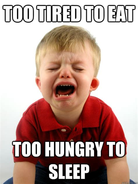 Toddler Meme - too tired to eat too hungry to sleep real world toddler problems quickmeme