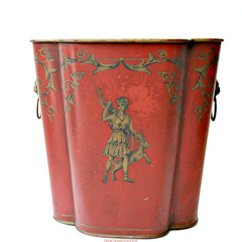 french toleware footed red cachepot jardiniere