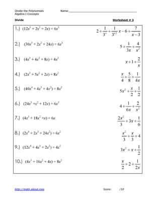 divide the polynomials worksheet 3 answers on 2nd page of pdf educational