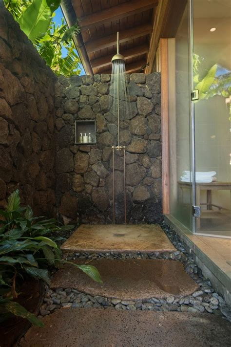 outdoor showers shower indoor bathroom outside luxury backyard pool luxurious stone homemydesign hawaiian bathrooms bath tropical paradise toilet traditional holiday