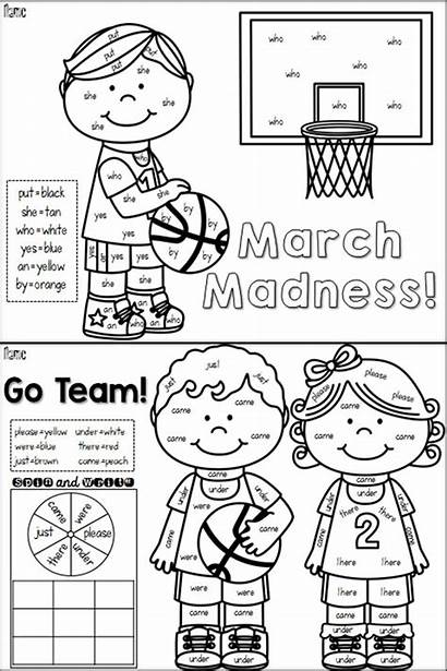 March Madness Words Sight Word Colors Coloring