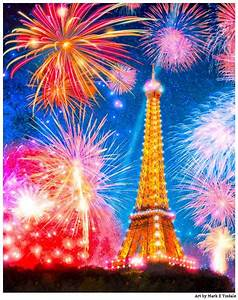 eiffel tower at night with fireworks
