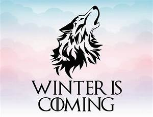 Game of thrones Winter is coming wolf head vector logo for