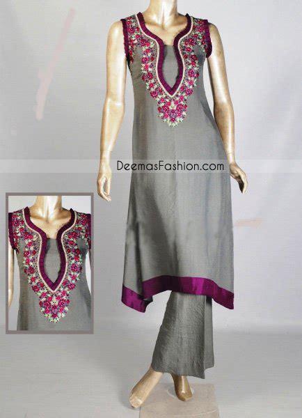 grey   shirt  magenta appliqued borders shalwar