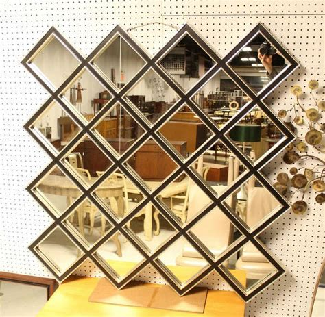 large square mirror with wood frame composed of 25 quot tiles