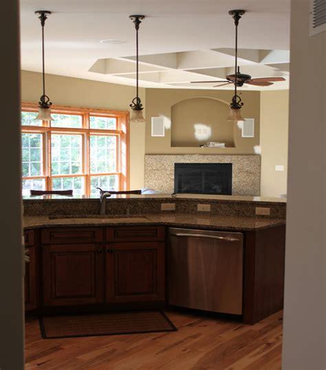 pendant lighting  island traditional kitchen