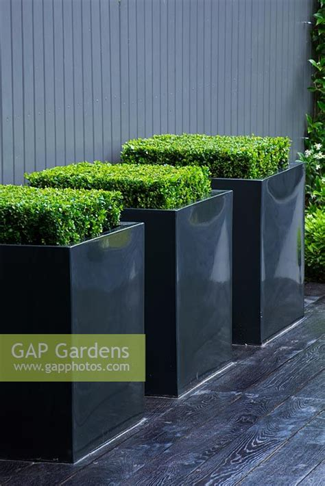 gap gardens small contemporary garden  metal square