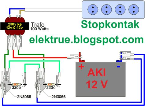 rangkaian inverter sederhana menggunakan transistor 2n3055 elektrue
