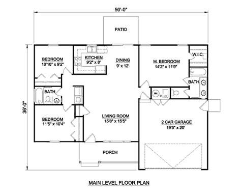 3 Beds 2.00 Baths 1158 Sq/ft Plan