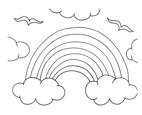 kids drawing  rainbow   clouds coloring page