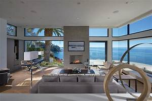 Living room glass walls ocean views beach house in for House to home furniture long beach ca