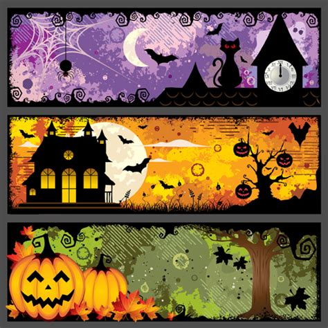 Happy halloween cute cartoon character banner vector collection, its filesize is 2.27mb, you can frankenstein vector eps, svg, ai file. Halloween night banner vector set 04 free download