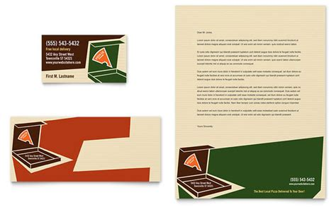 pizza pizzeria restaurant business card letterhead