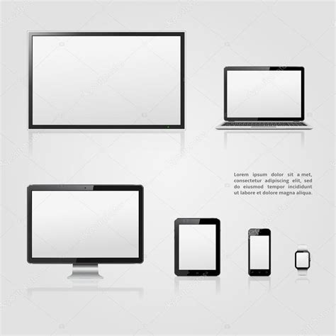 tv vector template tv screen lcd monitor notebook tablet computer mobile