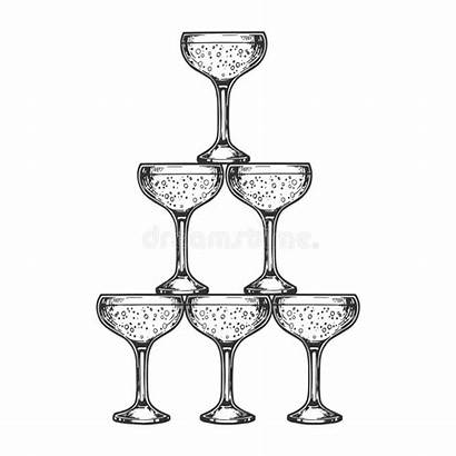 Champagne Tower Engraving Glass Clip Antique Drawing
