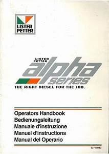 Lister Petter Diesel Engine Alpha Series Operators Manual