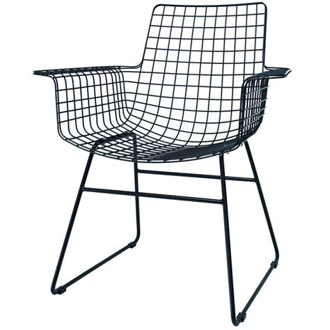 hk living wire chair with armrests black metal 72x56x86cm