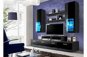 Meuble Tv Led Noir : meuble tv led noir laqu marty cbc meubles ~ Teatrodelosmanantiales.com Idées de Décoration