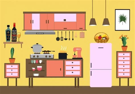 Kitchen Layout Vector by Kitchen Background Colored Flat Design Classical Decor