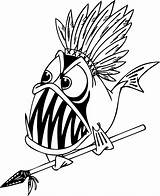 Coloring Piranha Pages Fish Detailed Cartoon Warrior Indian Funny Clipart Drawing Clip Printable Adult Colouring Cliparts Cool Sheet Angry Spear sketch template