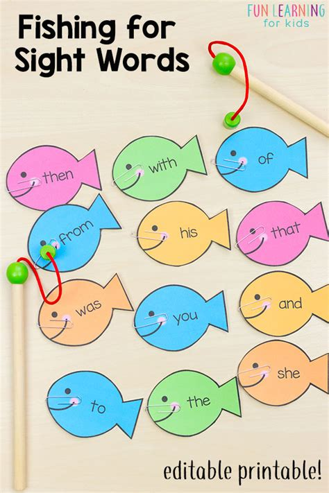 editable sight word that are 383 | Sight Word Game Fishing for Sight Words