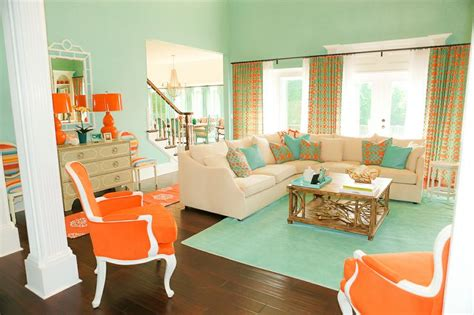 coral and tiffany blue living room this would be so cute