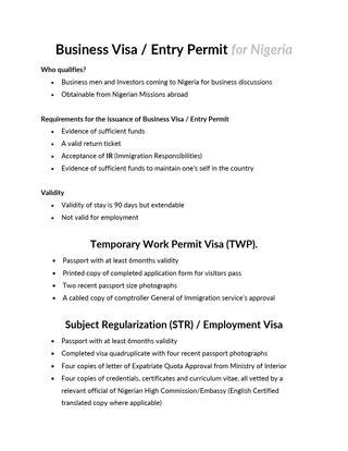Visa Information and fees for Nigeria by AIESEC in Nigeria