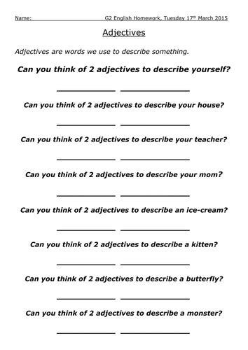adjective worksheet pack  barang teaching resources tes