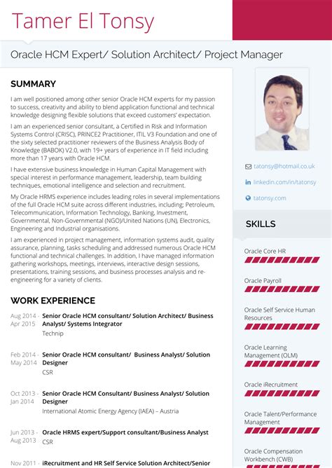 Oracle Hrms Consultant Resume by Technical Consultant Resume Sles Templates Visualcv