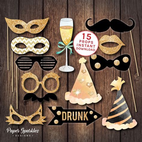 props ideas photo booth props printable props black and gold props new years eve party printable party