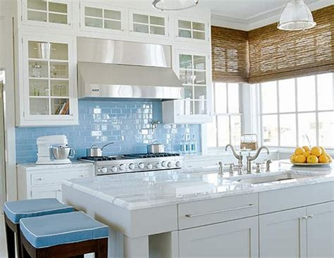 sky blue glass subway tile kitchen backsplash subway
