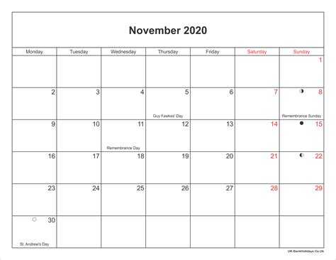 november  calendar printable  bank holidays uk