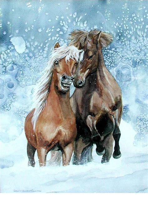 horses  winter painting  virginia sonntag