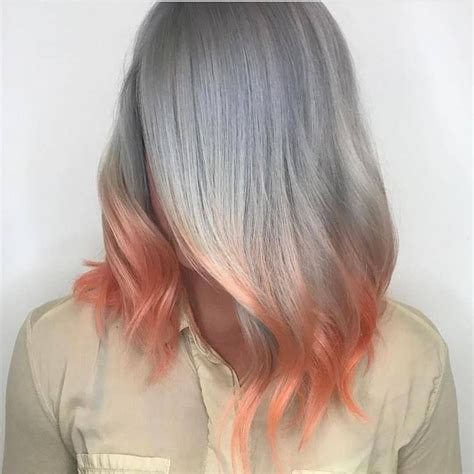 Silver Granny Grey Hair With Pink Peach Roots For Short