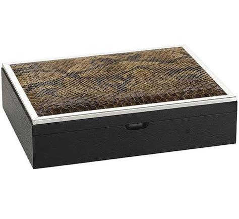 home design decor luxe designer brown python silver jewelry box so