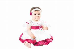 Little Cute Baby-girl In Pink Dress Isolated On White ...