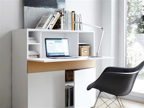 armoire rangement cuisine bureau secrétaire en bois placage chêne et blanc mat