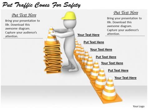 business  diagram put traffic cones  safety
