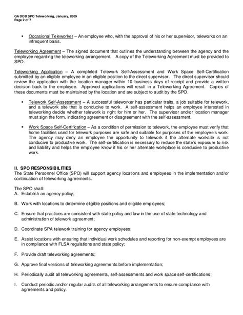 Telework Agreement Template by Telework Agreement Gallery Agreement Letter Format