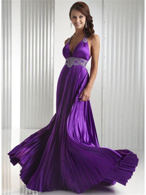 Halter Ruching Purple Prom Dress Full Length