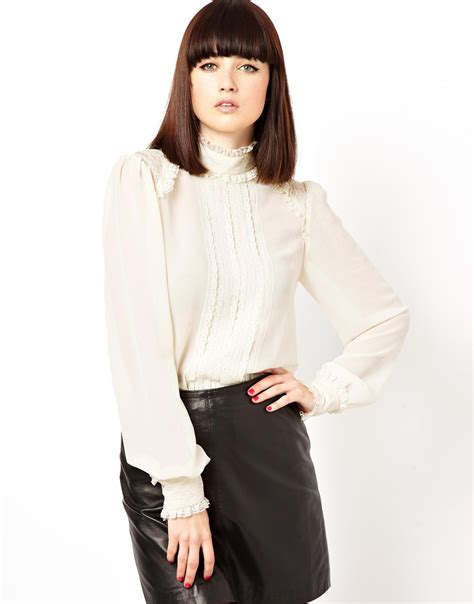 lace collar blouse lyst asos blouse with high neck and insert lace ruffle